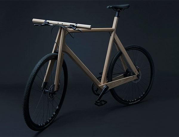 a custom designed wood bicycle frame