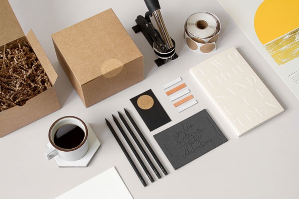 Simple, clean stationery and packaging design by Julia Kostreva.