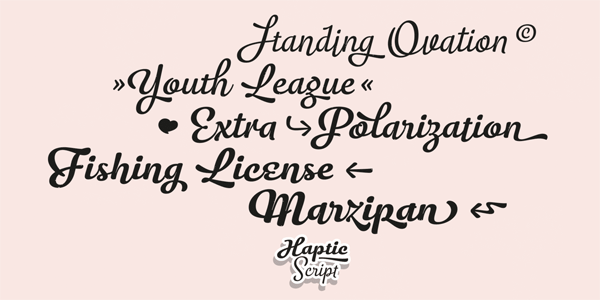 Some type samples of this decorative script font family.