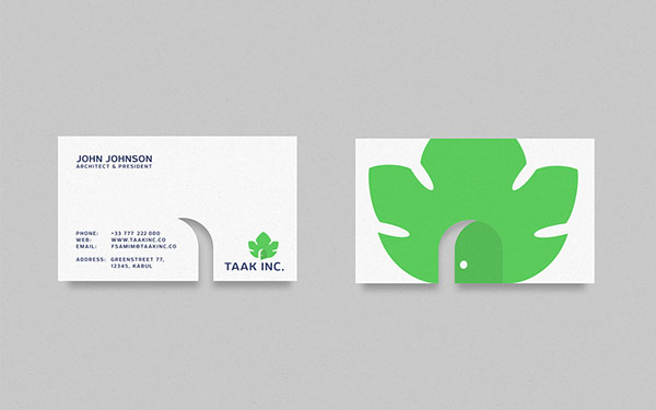 Branding by ramin nasibov for taak inc business card with front and backside colourmoves