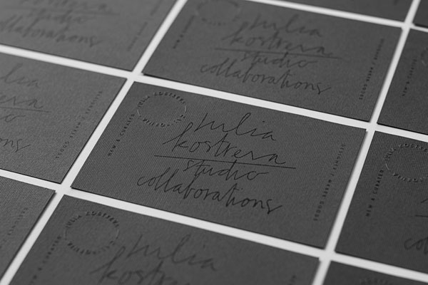 Hand screen printed business cards for artist and maker collaborations.
