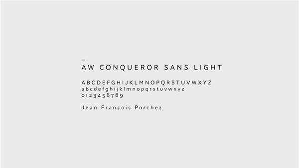 AW Conqueror Sans Light is the corporate typeface.