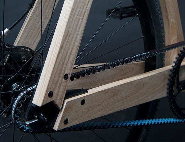 Close up of the wooden bicycle frame.