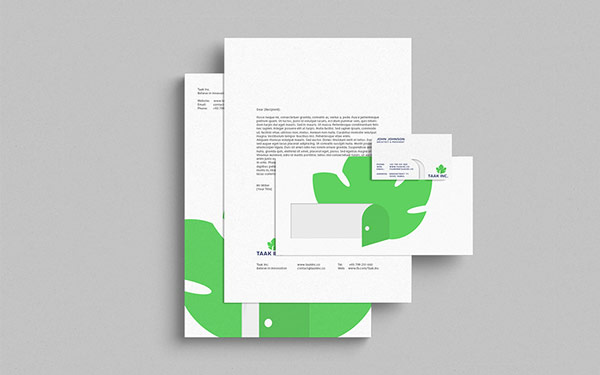 The stationery set of the Taak Inc. brand identity.
