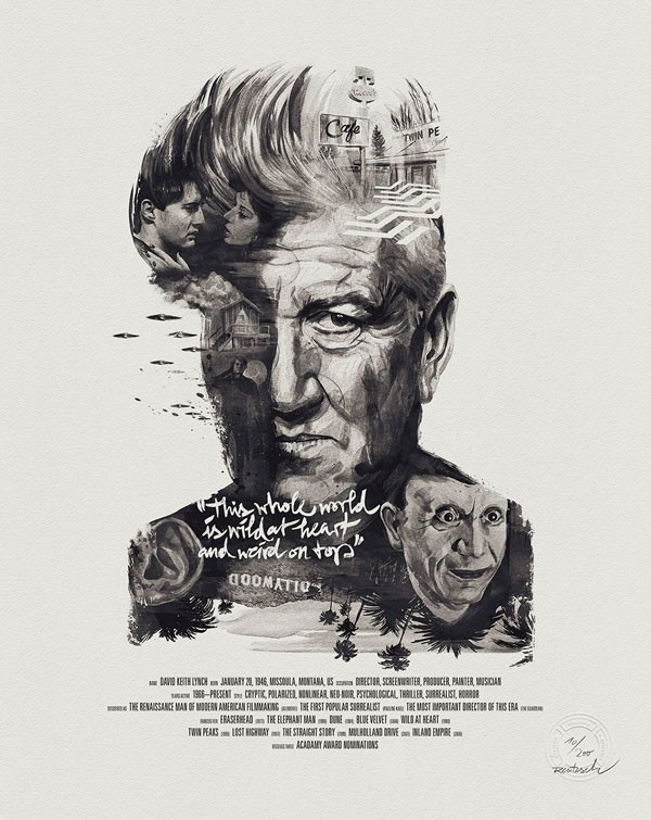 David Lynch illustrated movie director portrait.