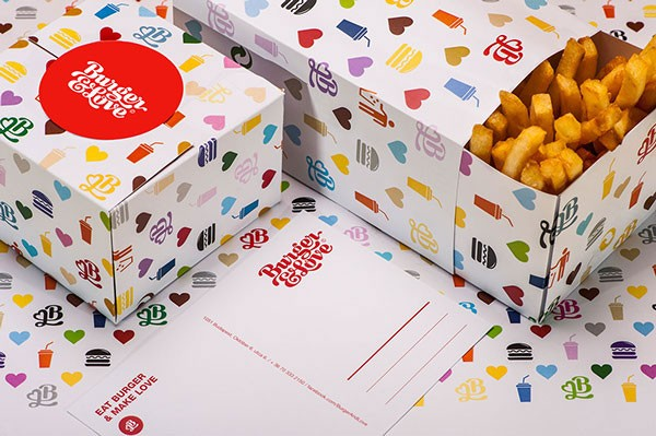 Packaging for french fries and burges.