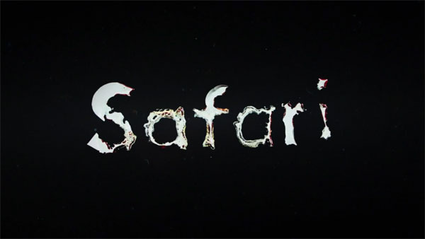 Safari - melting letters on black background.