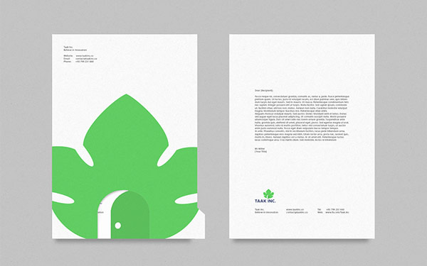 Stationery with front and backside design.