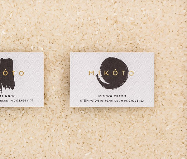 Close up of the business cards.