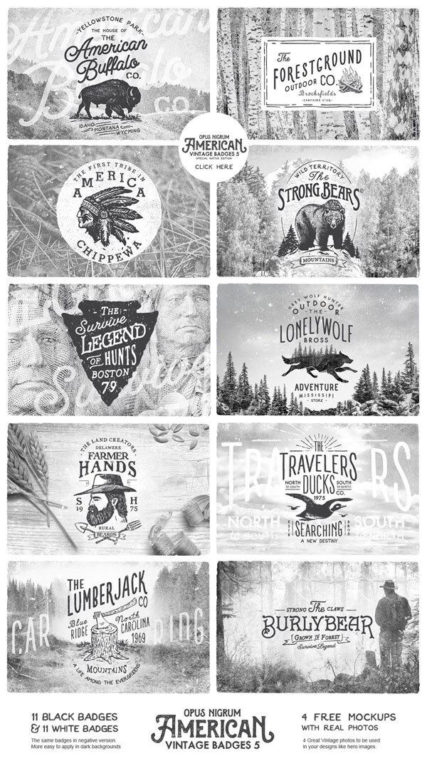 American Vintage Badges 5. The full set of graphics and illustrations.