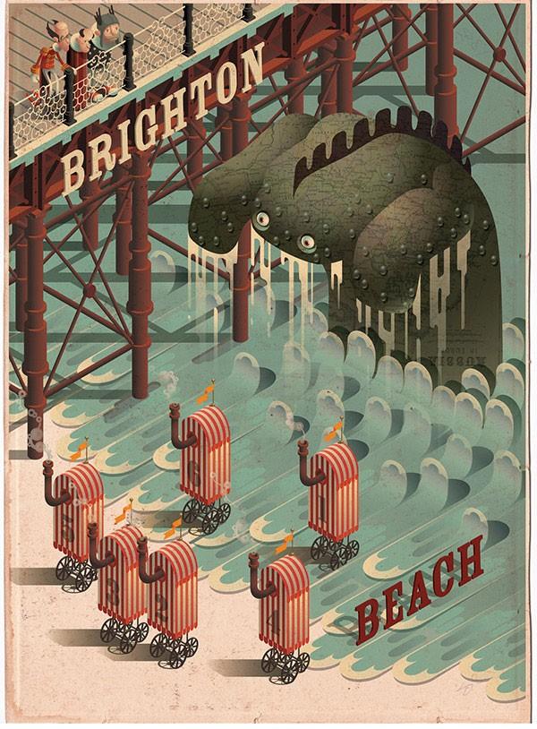 Brighton Beach Monster - Poster illustration for the city of Brighton.