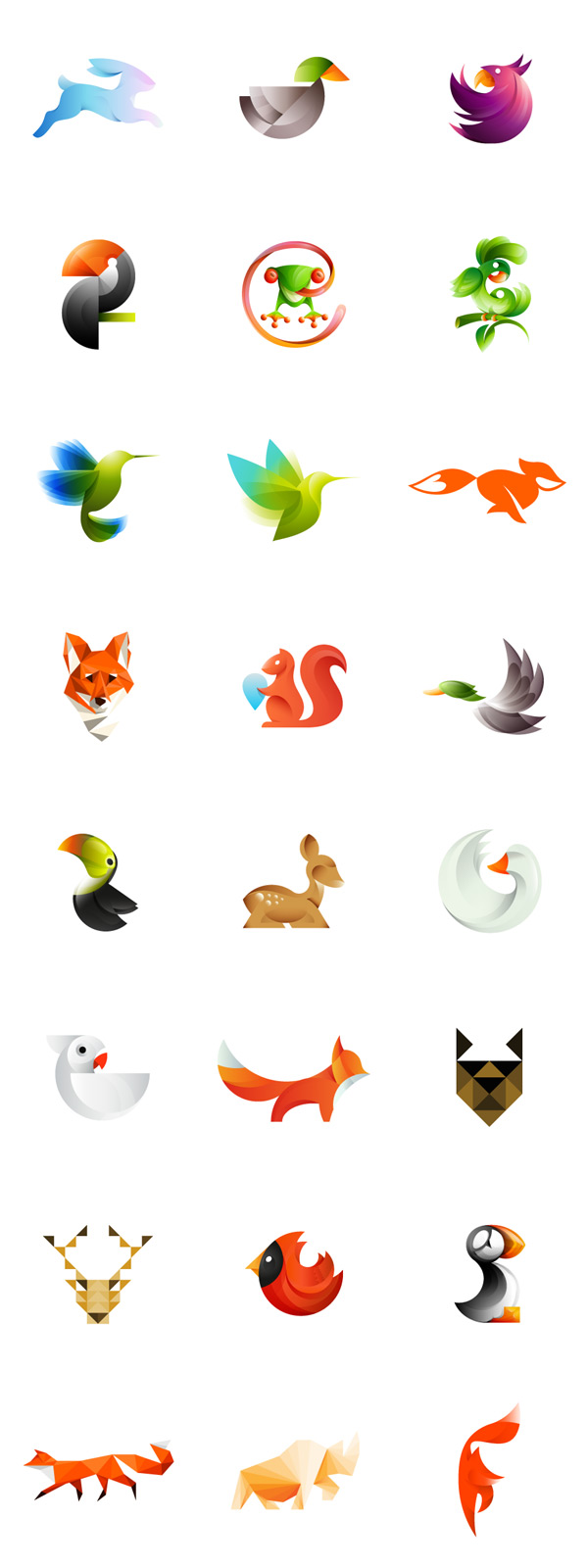 Colorful animal logos created by Ivan Bobrov, a Barnaul, Russian Federation based logo designer. The set consists of differently illustrated birds, foxes, a deer, a frog, and other lovely designed animals.