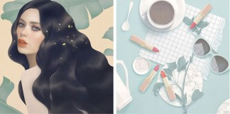 Four digital paintings created by Hsiao-Ron Cheng for L'oreal Paris.