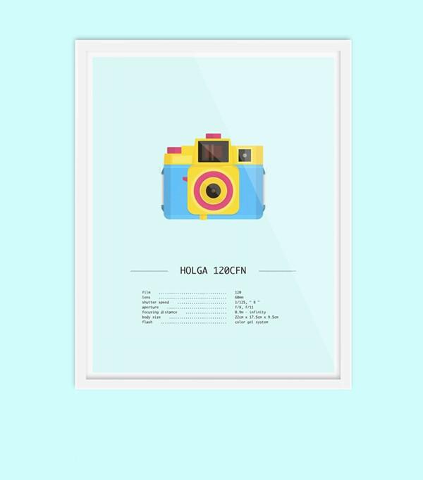 Holga 120CFN CMYK version - lomography analog camera illustrations.