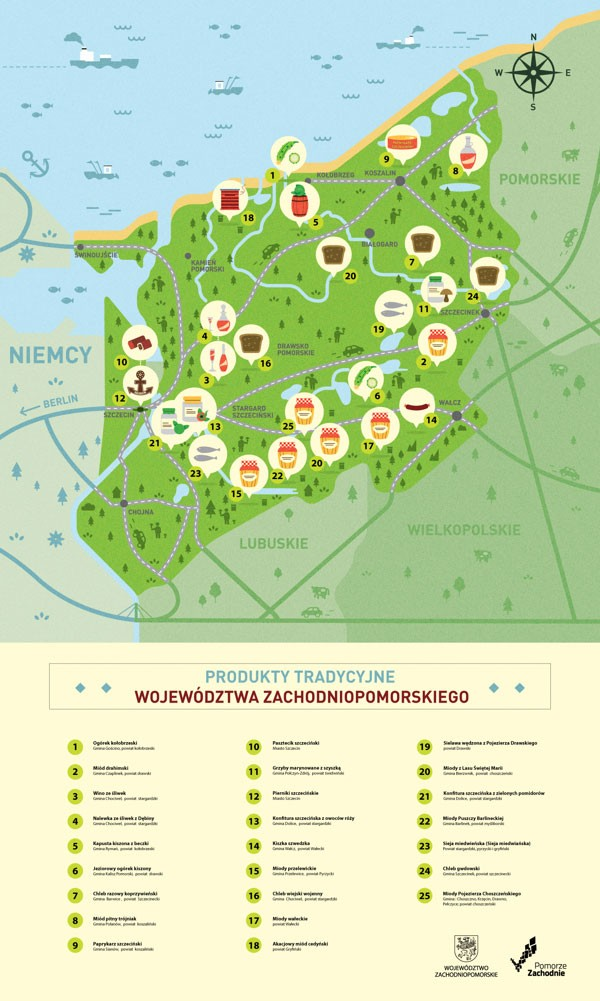 Informative map of West Pomeranian province featuring food and local cuisines.
