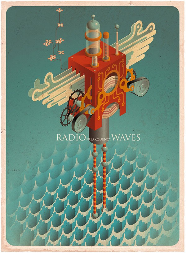 Radio Waves, a print created by Mark Oliver.