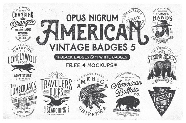 The American Vintage Badges no 5 include 11 black badges and 11 white badges as well as 4 free mockups.