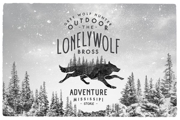 Wolf logo on black and white background.