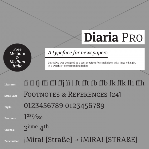 Diaria Pro, a font family for newspapers with 6 weights plus corresponding italics.
