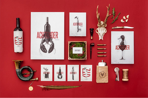 Restaurant brand identity design by agency Hochburg for Achtender in Metzingen, Germany.