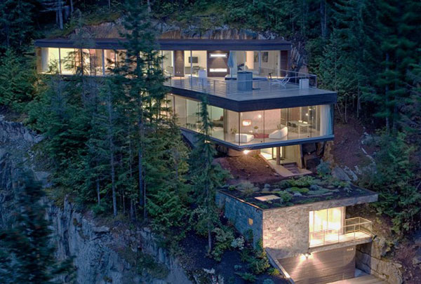 The Khyber Ridge house by Studio (n-1) Architects is distributed along a steep slope.