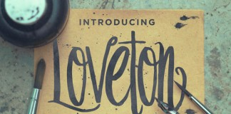 The Loveton typeface is a hand drawn, swirly script font with a vertical body.