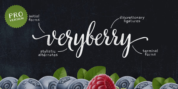Veryberry Pro, a handwritten script font by Elena Genova with a unique character.