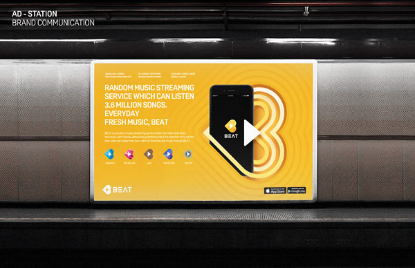 Billboard advertisement for the free music streaming service in a metro station.