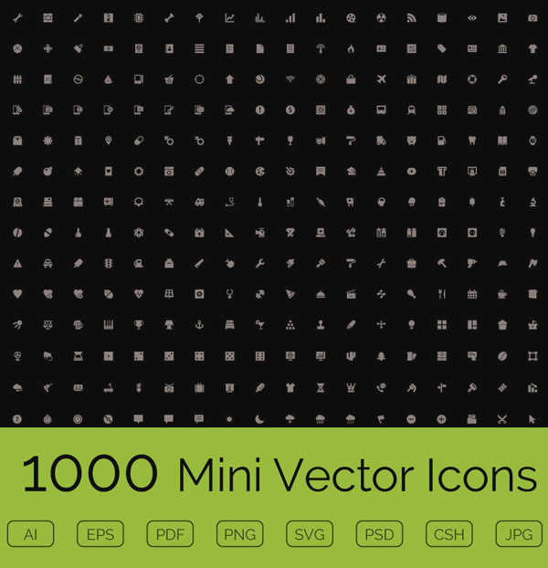 1000 Mini Vector Icons for Download