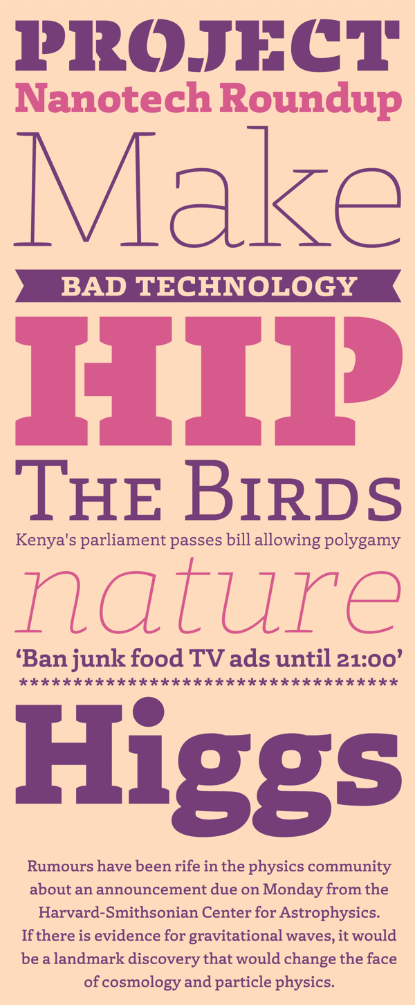Laski Slab, a comprehensive suite of 20 fonts conceived for editorial purposes.