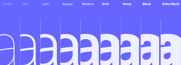 Neue Haas Unica™ from Linotype with all its weights ranging from Ultralight to Extra Black.