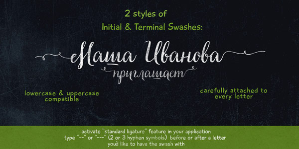 2 styles of initial and terminal swashes with lowercase and uppercase compatibility.