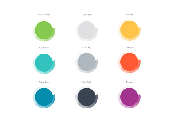 The chosen colors for the brand identity.