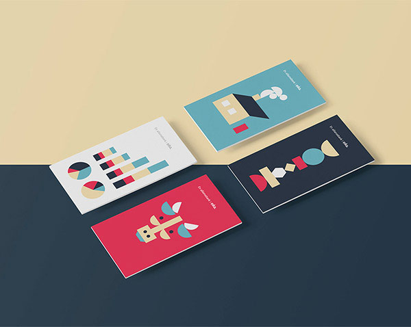 The colorful business cards of the bank.