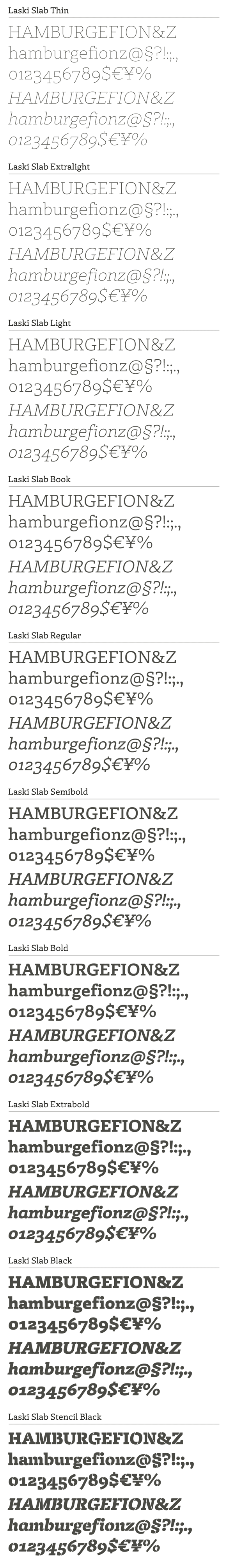 All weights and styles of the complete family plus matching italics.
