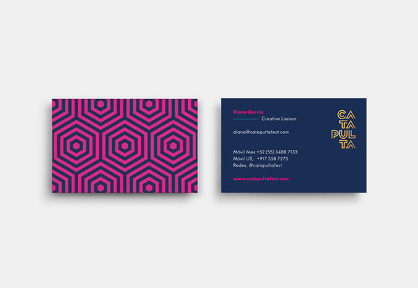 Business card with contact information on the front and the typical corporate pattern on the back.