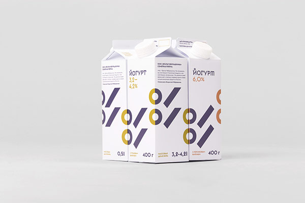 Cheburashkini Brothers Dairy packaging design based on graphics and typography.