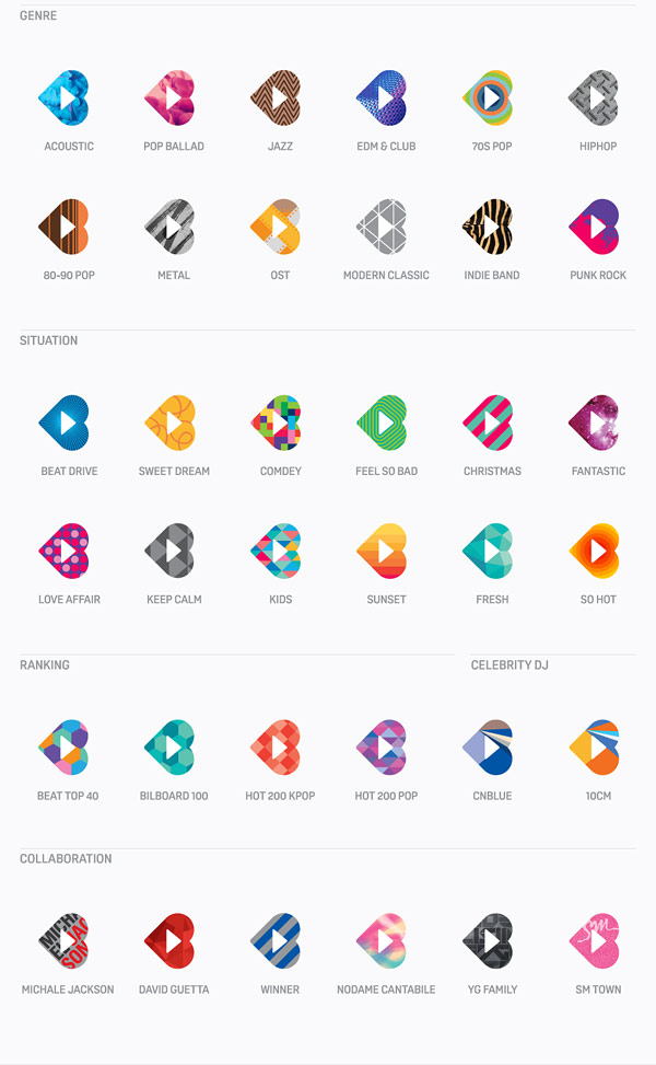 Diverse colorful logos for any genre, ranking, and collaboration.