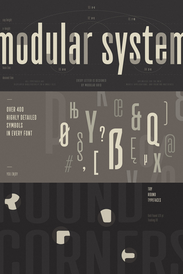 Every letter of the TT Bluescreens font family was designed using a modular grid. The family comes with over 400 highly detailed symbols in every font. In addition, the font family also includes multiple weights with slightly rounded edges as well as rough fonts.