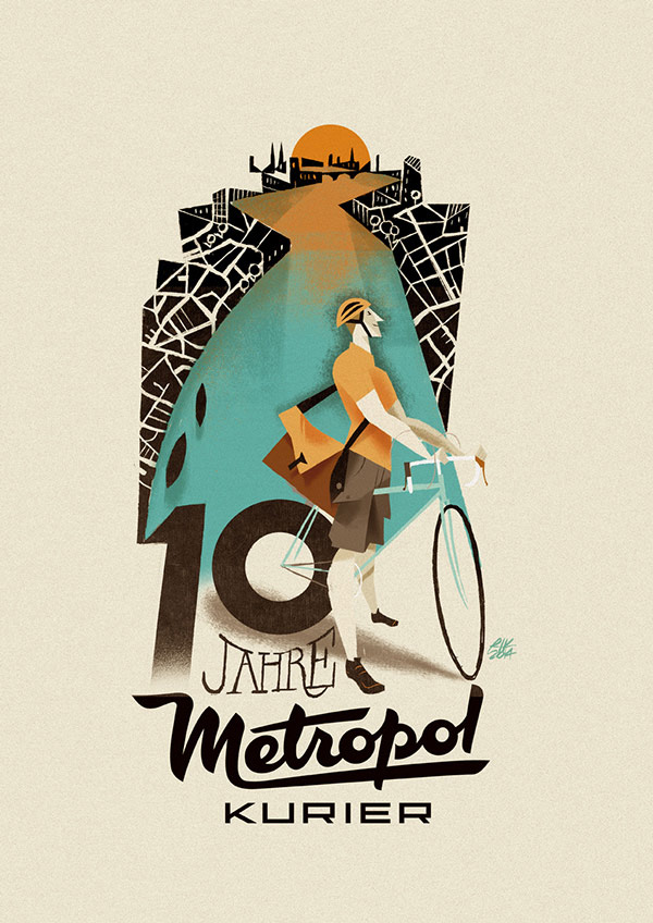 10 Jahre Metropol Kurier - artwork by Riccardo Guasco, an illustrator based in Alessandria, Italy.