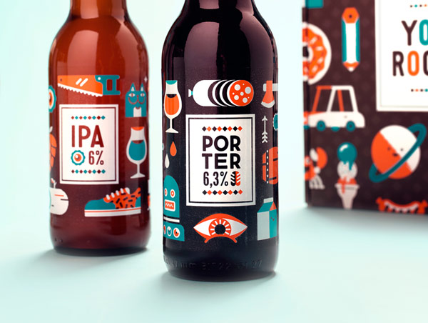 Close up of the beer labels.