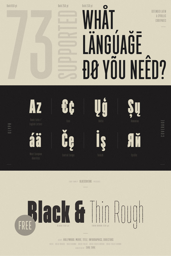 Multiple language support plus 2 free fonts (Black and Thin Rough).