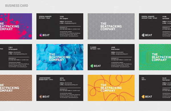 Numerous colorful business cards of the company.