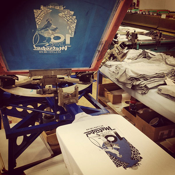 T-shirt printing process.