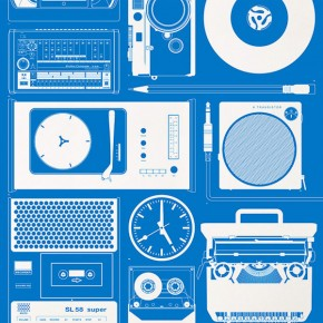 """Analog"" Poster in Black and Blue by 67 Inc"