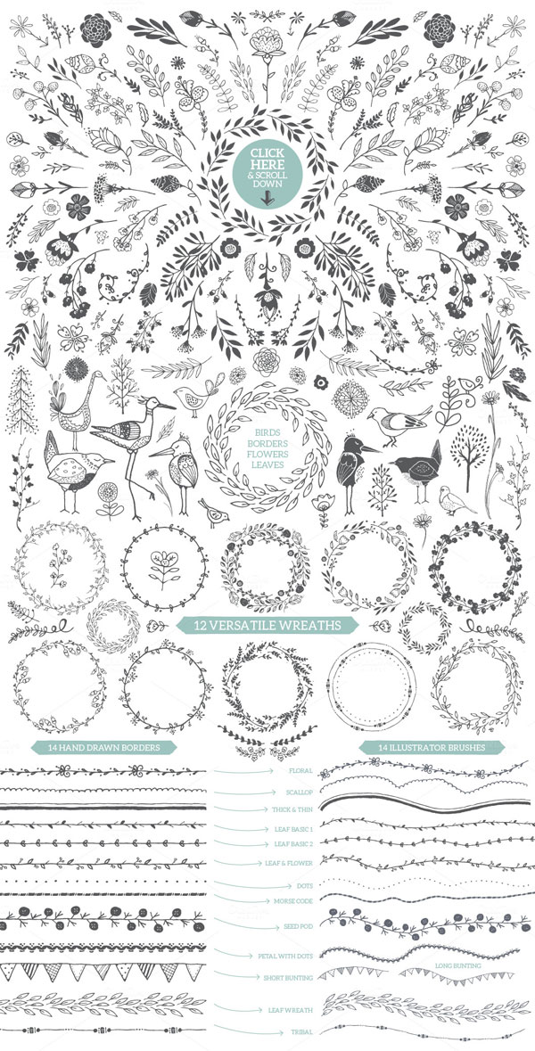 Birds, borders, flowers, and leaves as well as 12 versatile wreaths, 14 hand drawn borders and 14 illustrator brushes.