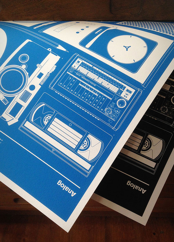 """""""Analog"""" Poster in Black and Blue by 67 Inc"""