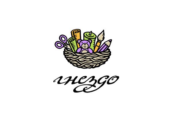 Gnezdo (russian nest) handmade shop (logo concept).