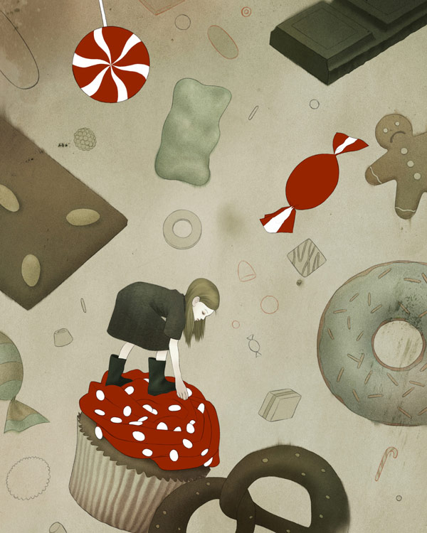 Gretel - illustration from a series on contemporary fairy tale characters by The Brothers Grimm.