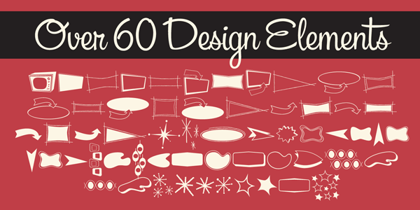 Packed with over 60 design elements such as ornaments and banners.